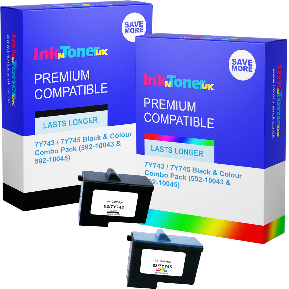 Premium Remanufactured Dell 7Y743 / 7Y745 Black & Colour Combo Pack Ink Cartridges (592-10043 & 592-10045)