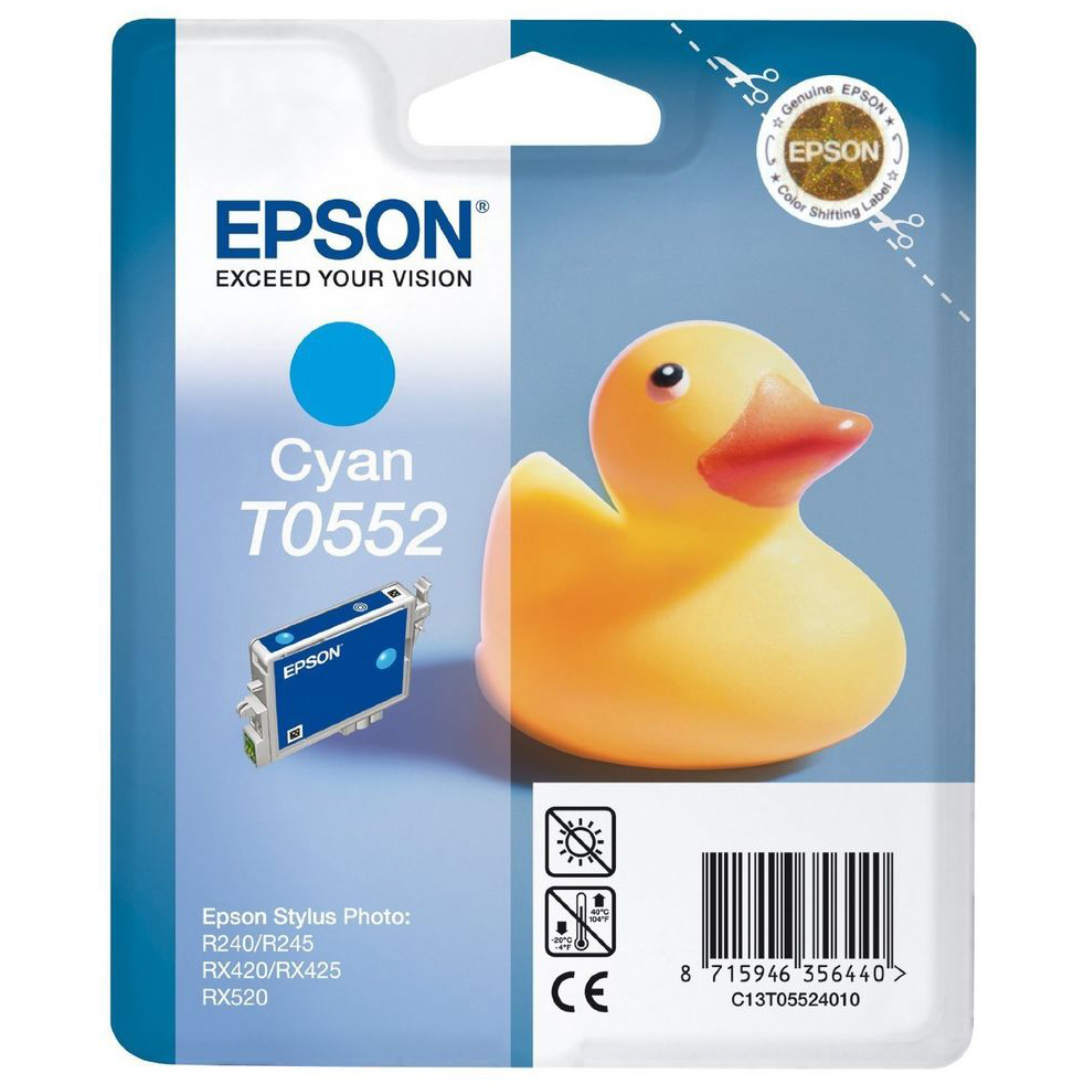 Original Epson T0552 Cyan Ink Cartridge (C13T05524010)
