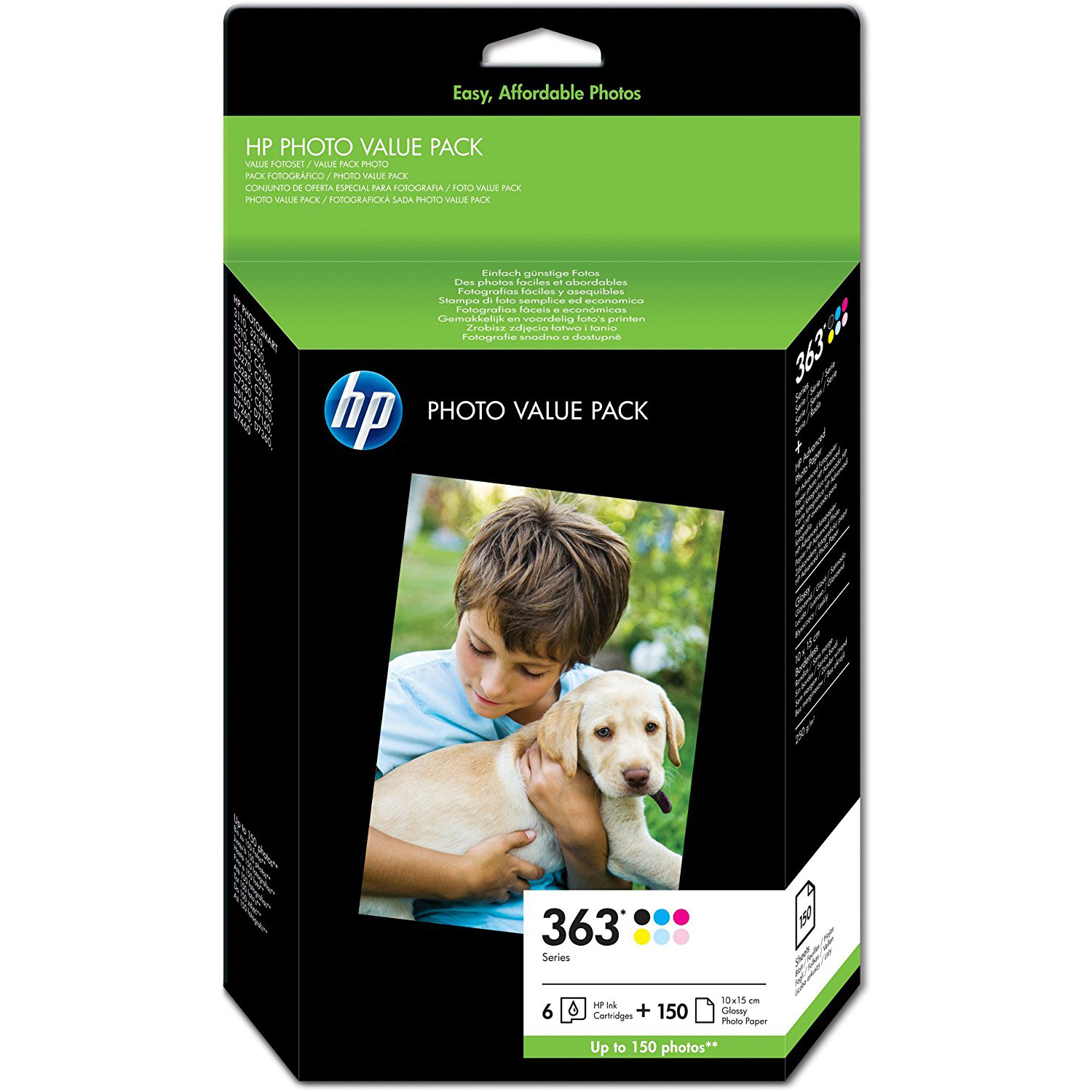 Original HP 363 C, M, Y, K, LC, LM Multipack Ink Cartridges & Paper (Q7966EE)