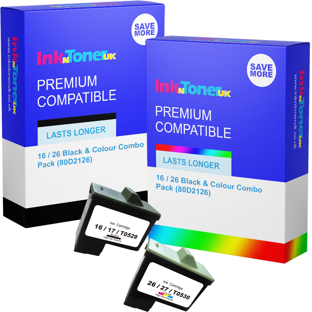 Premium Remanufactured Lexmark 16 / 26 Black & Colour Combo Pack Ink Cartridges (80D2126)