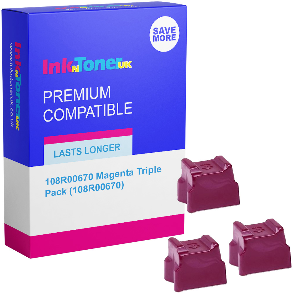 Premium Compatible Xerox 108R00670 Magenta Triple Pack Solid Ink (108R00670)