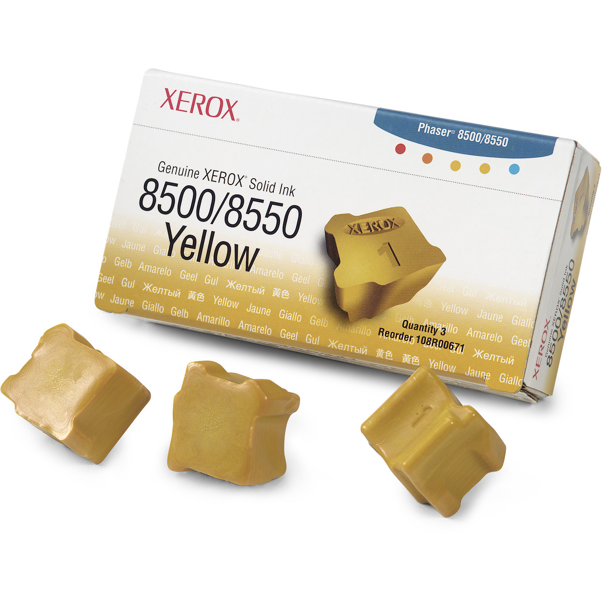Original Xerox 108R00671 Yellow Triple Pack Solid Ink (108R00671)