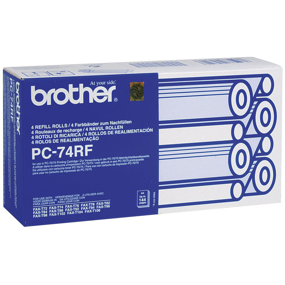 Original Brother PC74 Black 4 Pack Thermal Ribbons (PC74)