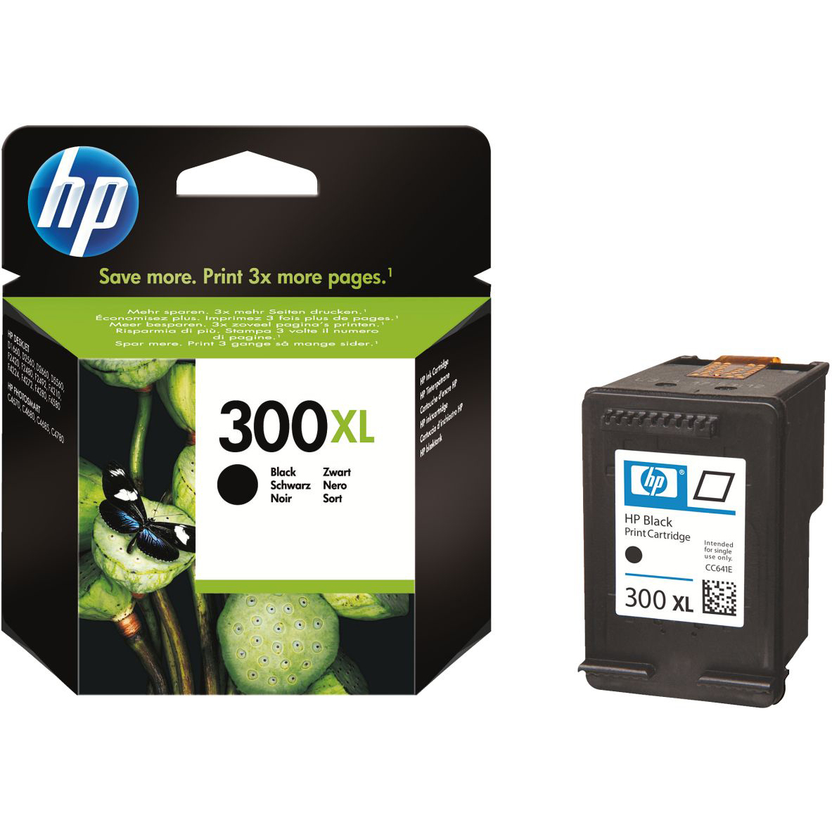 Original HP 300XL Black High Capacity Ink Cartridge (CC641EE)