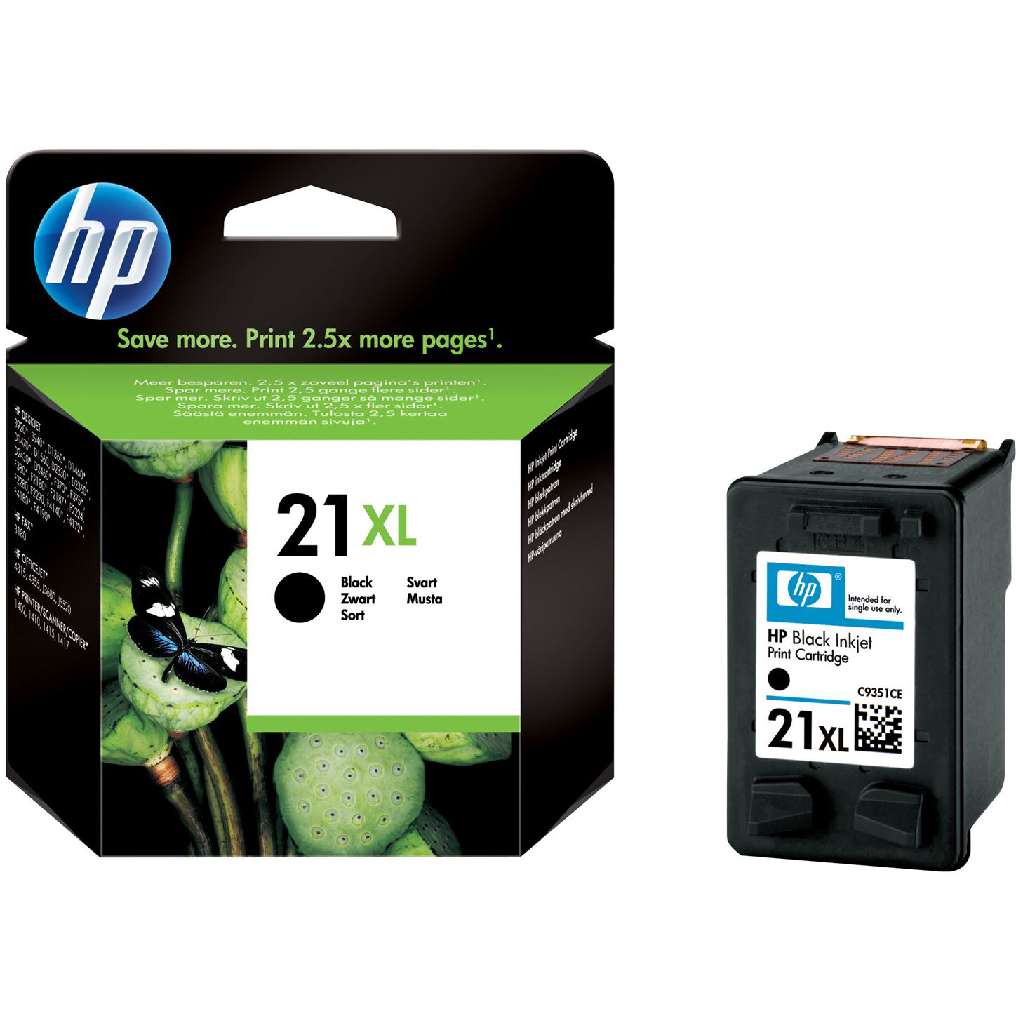 Original HP 21XL Black High Capacity Ink Cartridge (C9351CE)