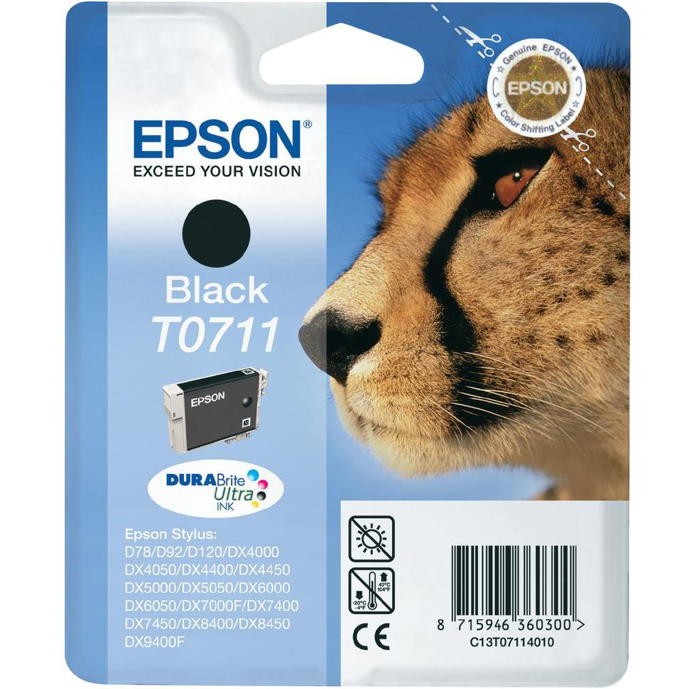 Original Epson T0711 Black Ink Cartridge (C13T07114011)