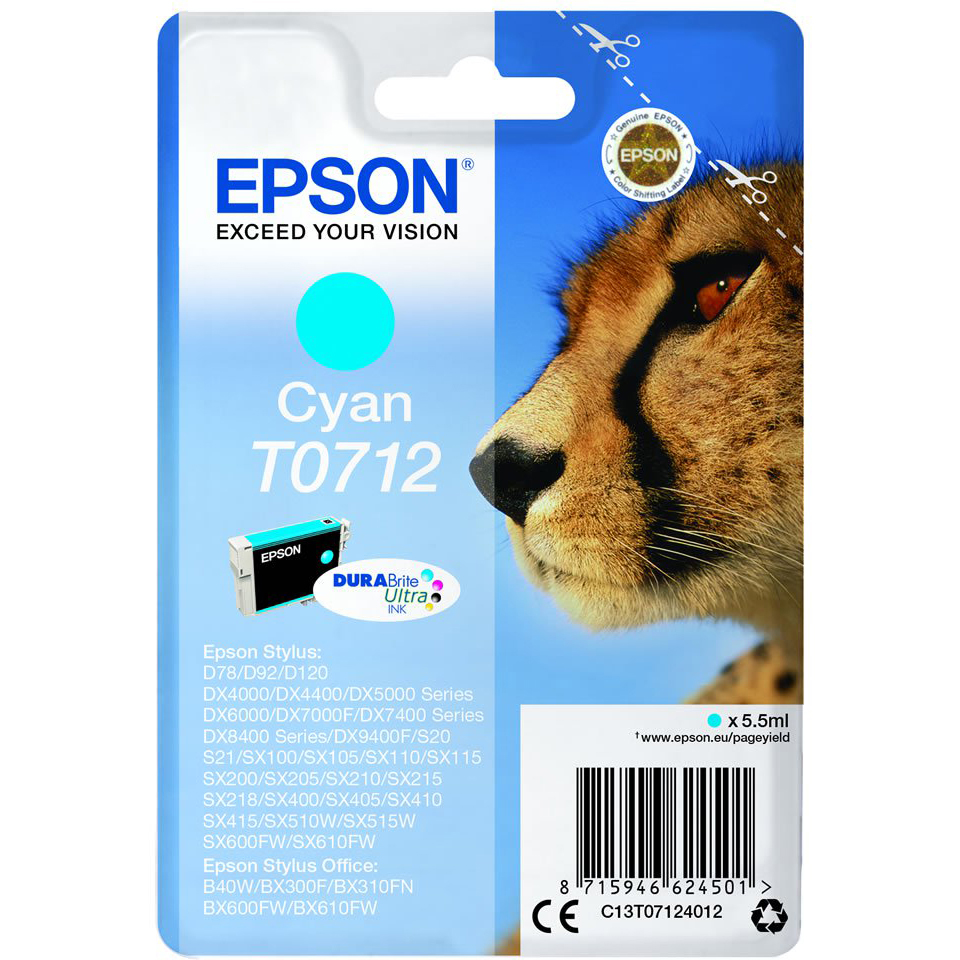 Original Epson T0712 Cyan Ink Cartridge (C13T07124011)