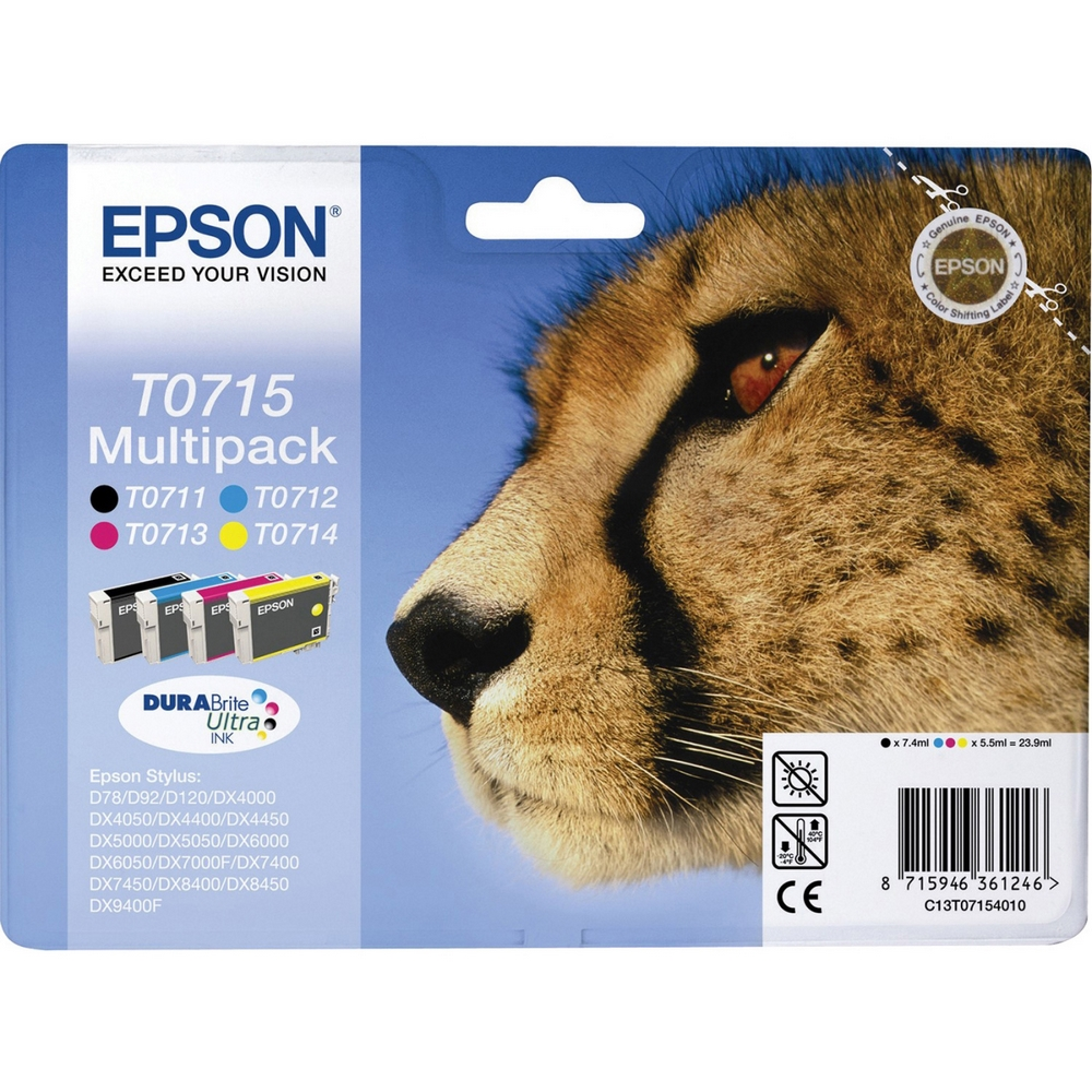 Original Epson T0715 CMYK Multipack Ink Cartridges (C13T07154010)
