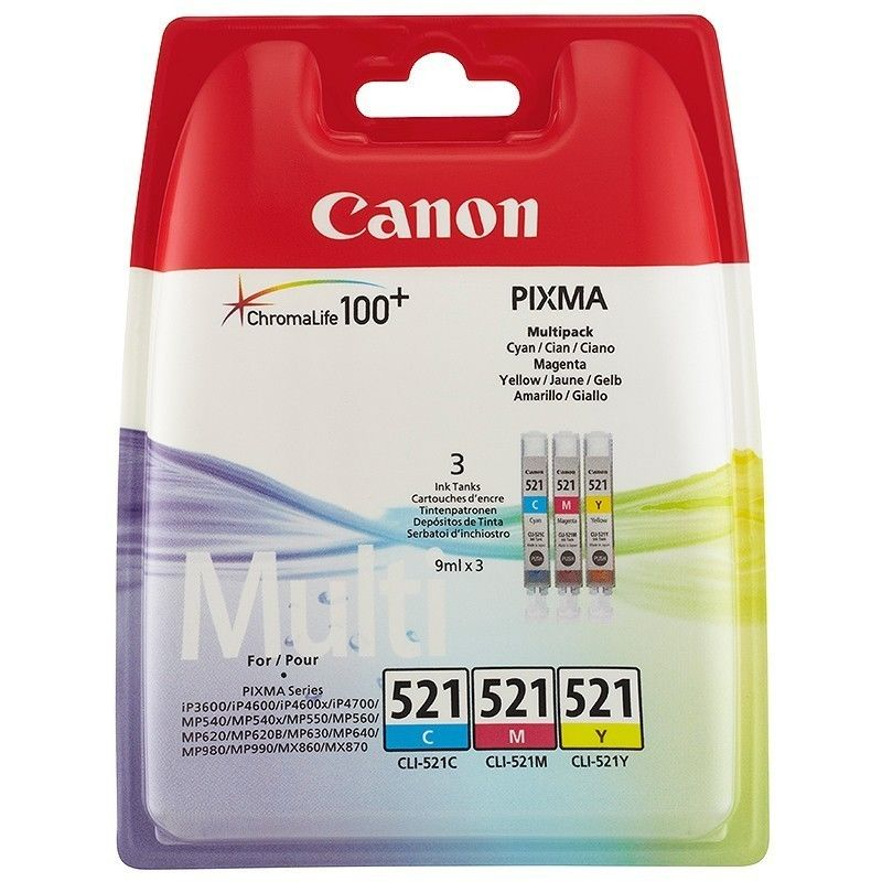 Original Canon CLI-521 Cyan Magenta Yellow Pack Ink Cartridges (2934B010)