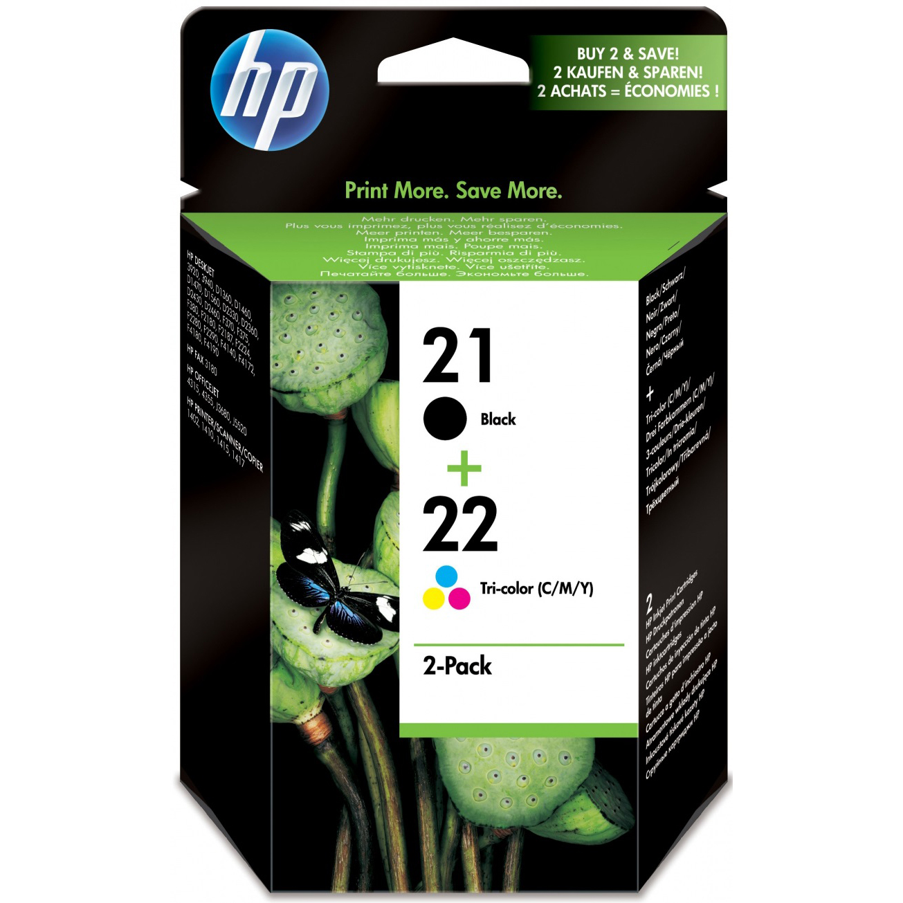 Original HP 21 / 22 Black & Colour Combo Pack Ink Cartridges (SD367AE)