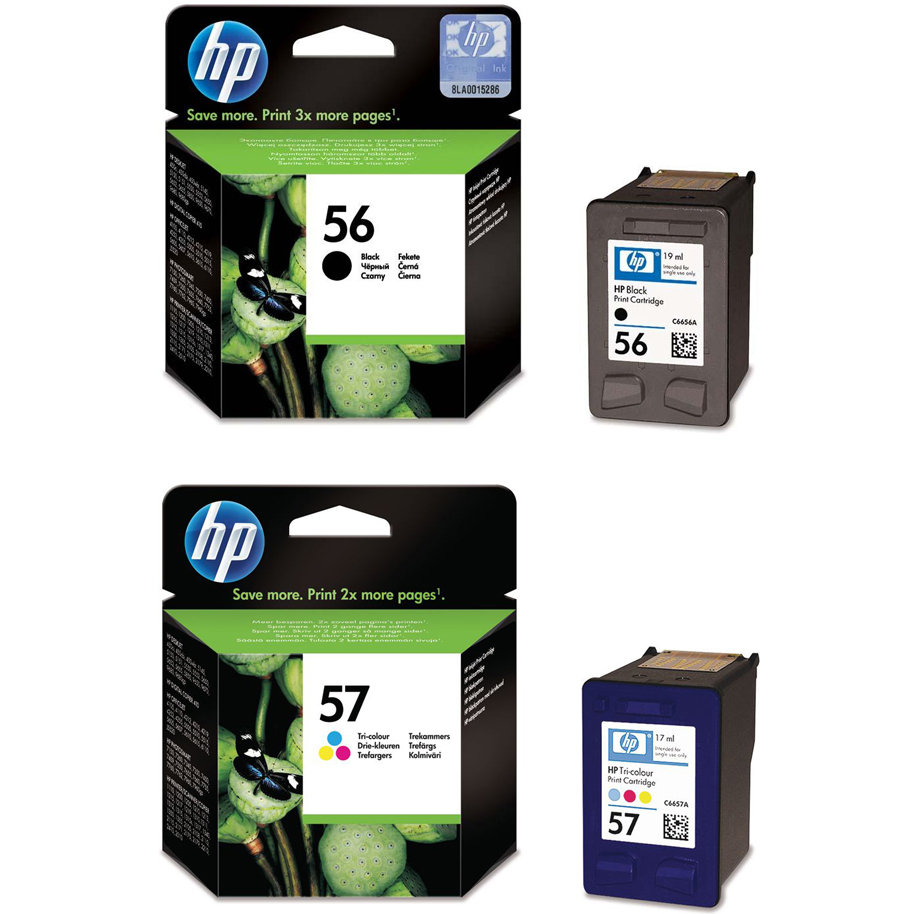 Original HP 56 / 57 Black & Colour Combo Pack Ink Cartridges (SA342AE)