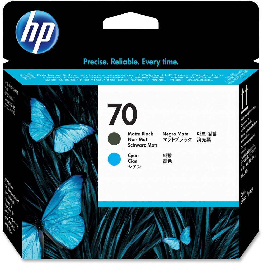 Original HP 70 Matt Black & Cyan Printhead (C9404A)