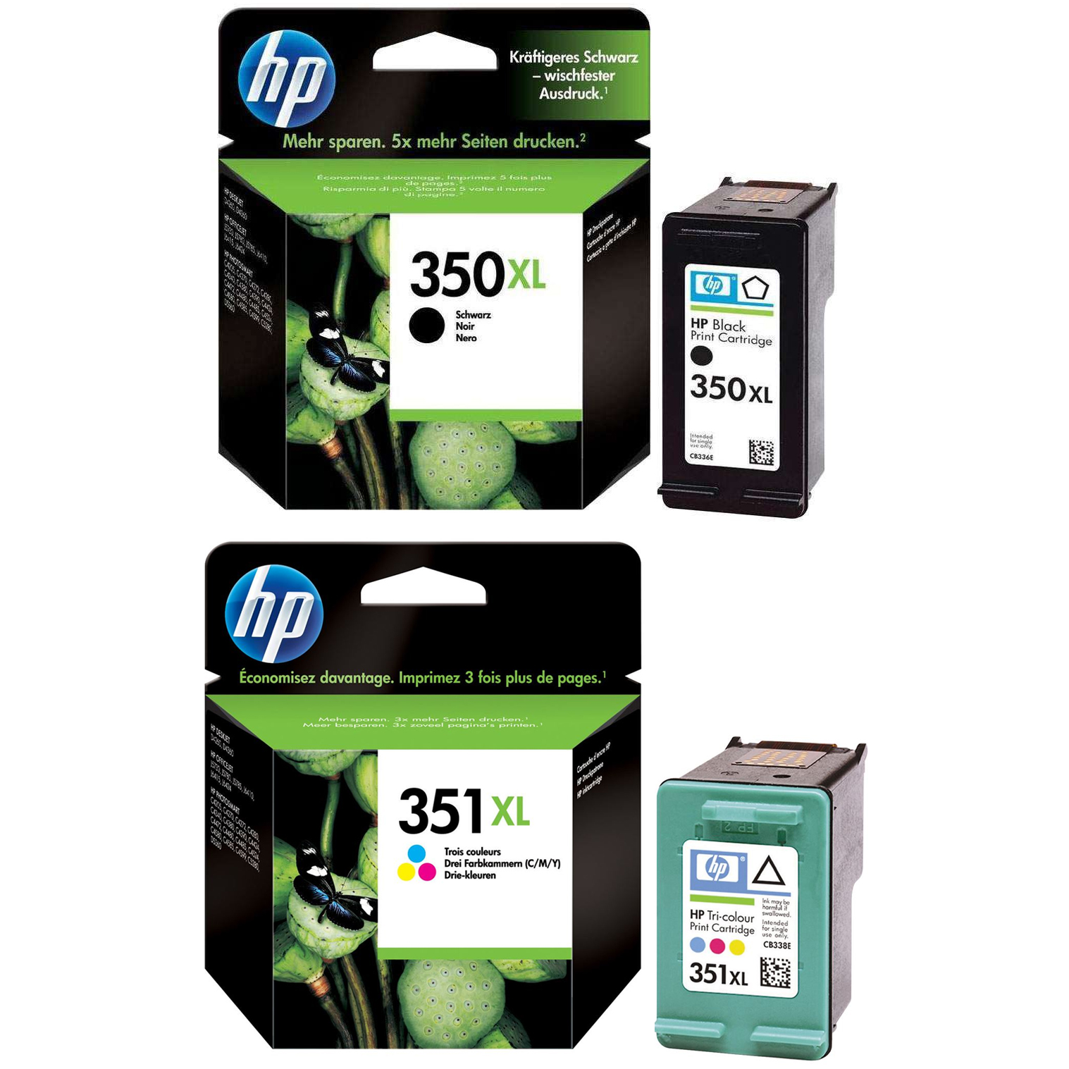 Original HP 350XL / 351XL Black & Colour Combo Pack High Capacity Ink Cartridges (CB336EE & CB338EE)