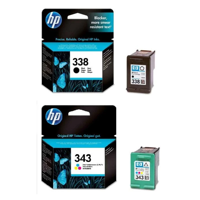 Original HP 338 / 343 Black & Colour Combo Pack Ink Cartridges (SD449EE)