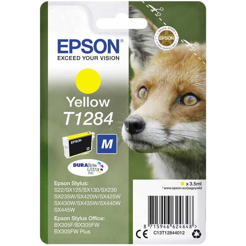 Original Epson T1284 Yellow Ink Cartridge (C13T12844011)