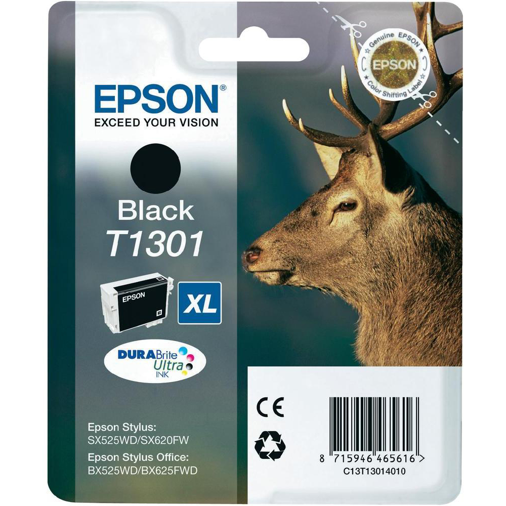 Original Epson T1301XL Black High Capacity Ink Cartridge (C13T13014010)