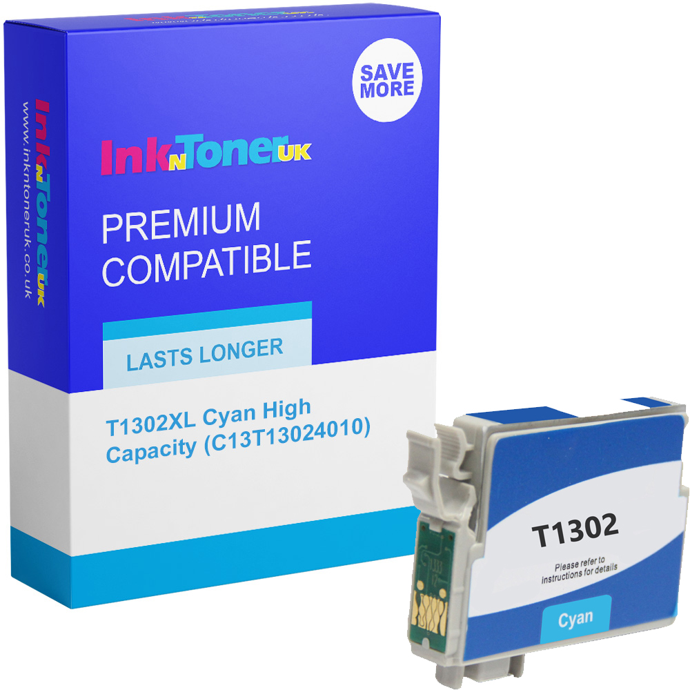 Premium Compatible Epson T1302XL Cyan High Capacity Ink Cartridge (C13T13024010)