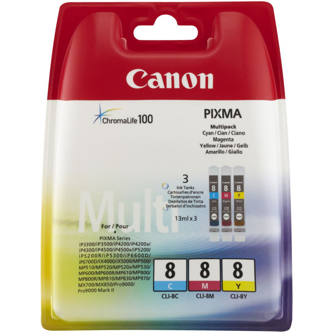 Original Canon CLI-8 Cyan Magenta Yellow Pack Ink Cartridges (0621B029)