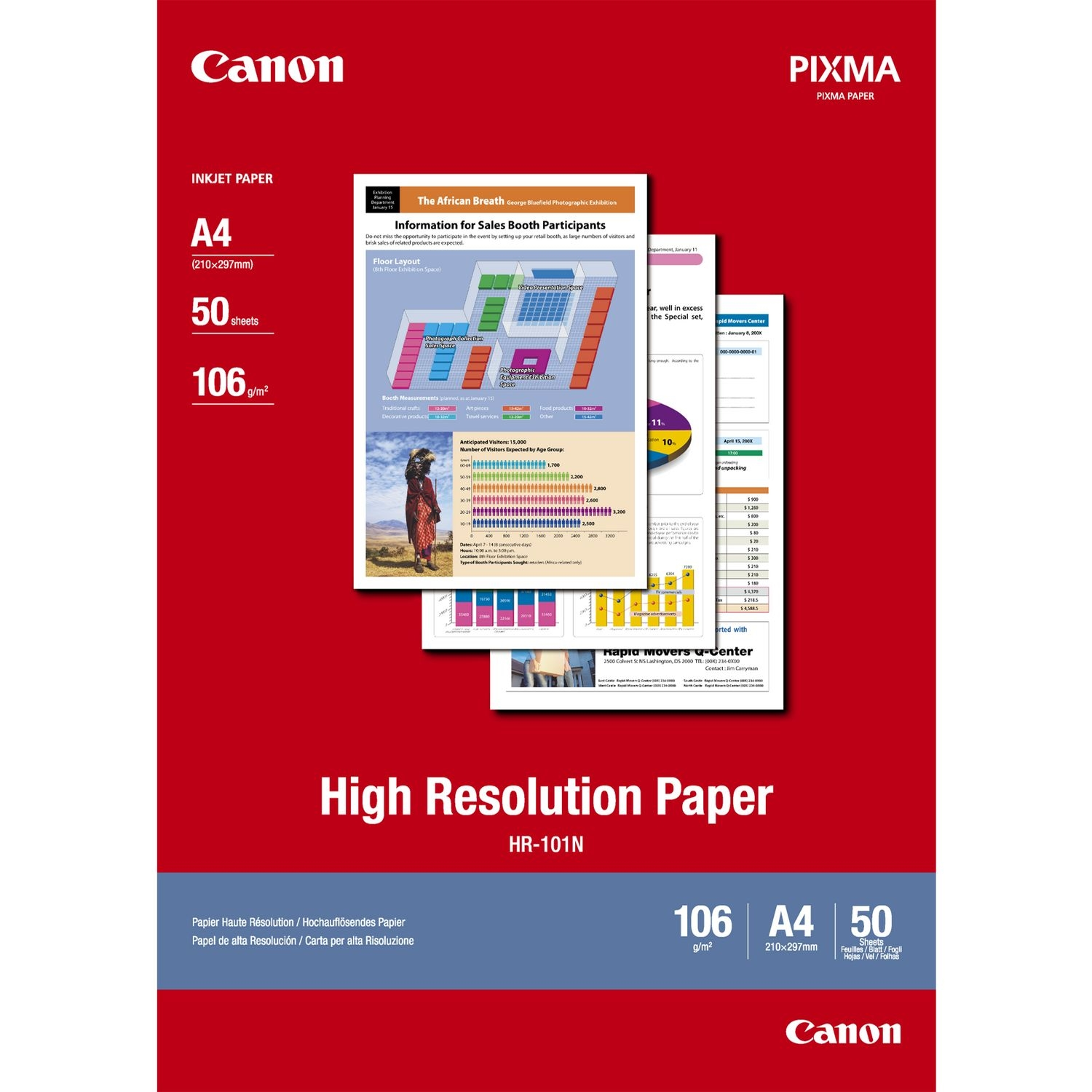 Original Canon HR-101N 106gsm A4 High Resolution Paper - 50 sheets (1033A002)