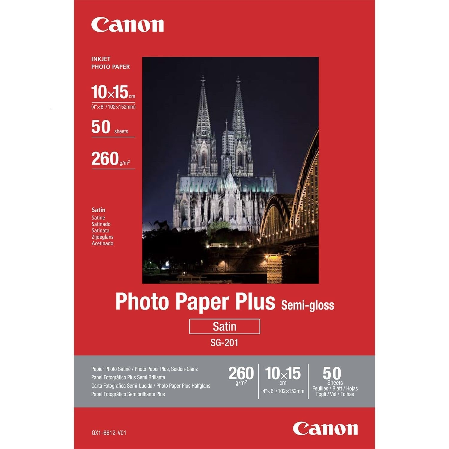 Original Canon SG-201 260gsm A6 Photo Paper Plus - 50 Sheets (1686B015)