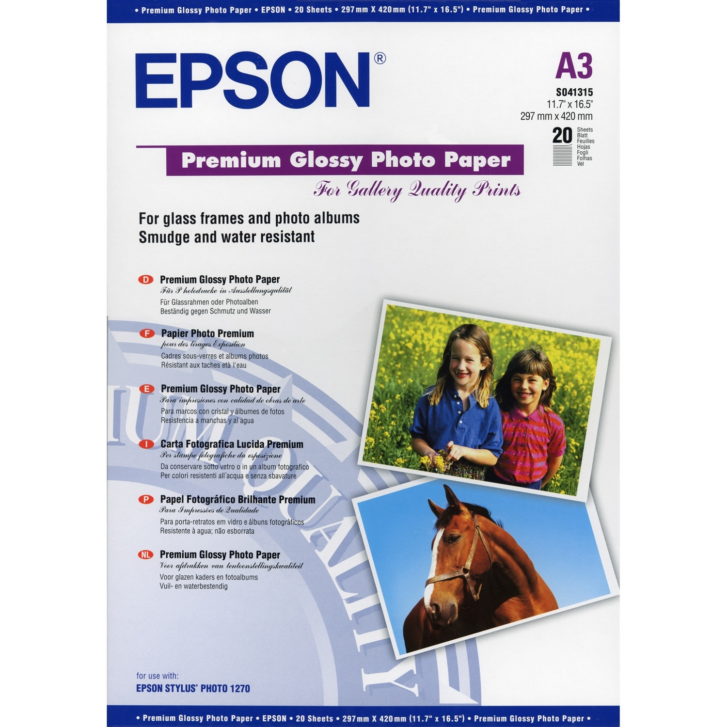 Original Epson S041315 255 gsm A3 Photo Paper - 20 Sheets (C13S041315)