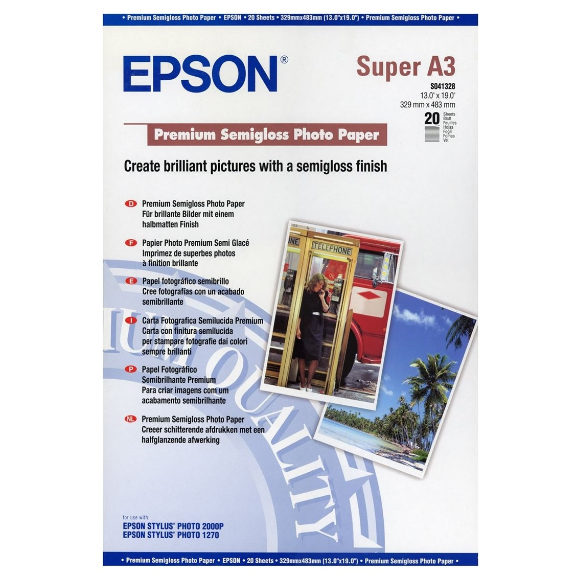 Original Epson S041328 251gsm A3+ Photo Paper - 20 Sheets (C13S041328)