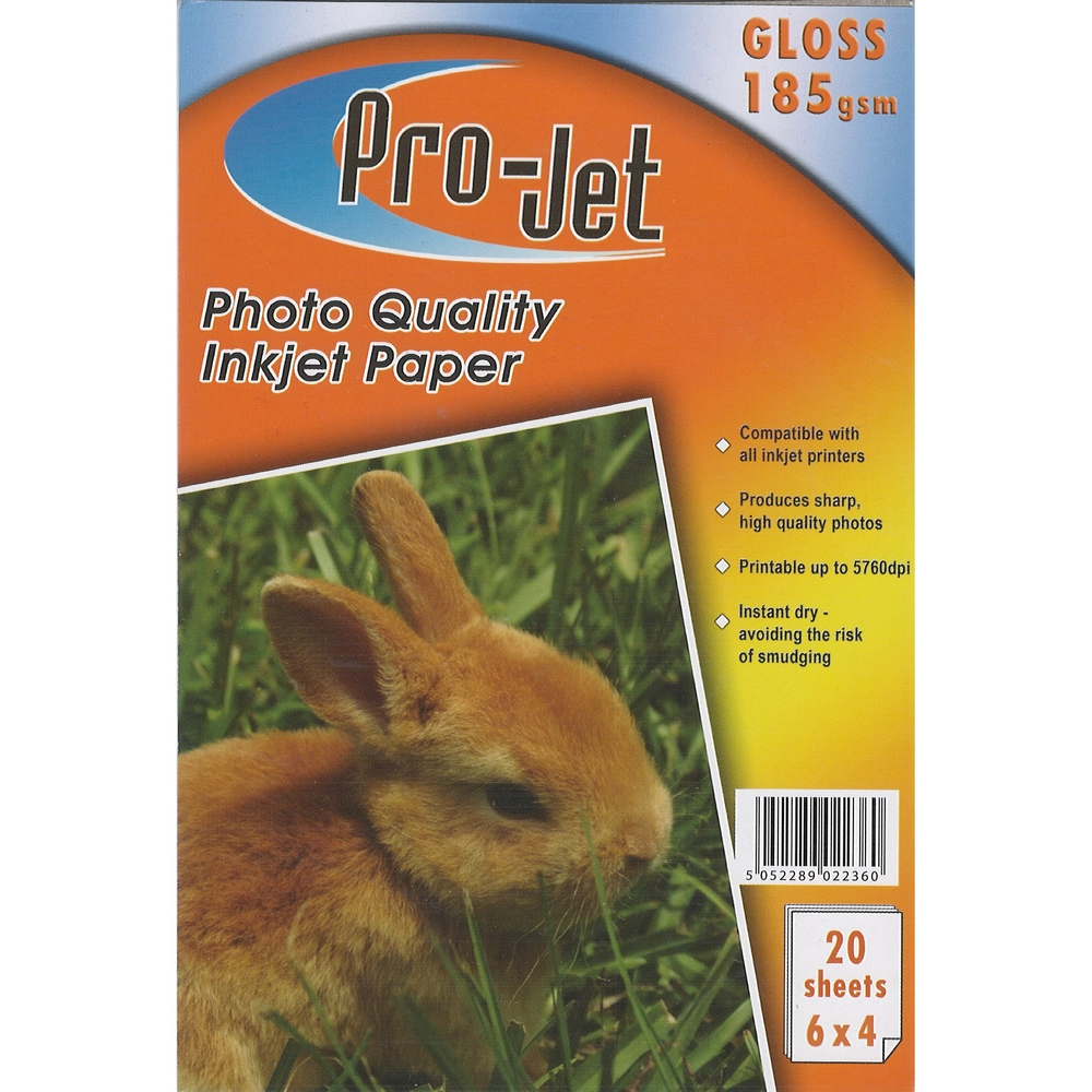 Original Pro-Jet Glossy A6 185gsm Photo Paper - 20 sheets