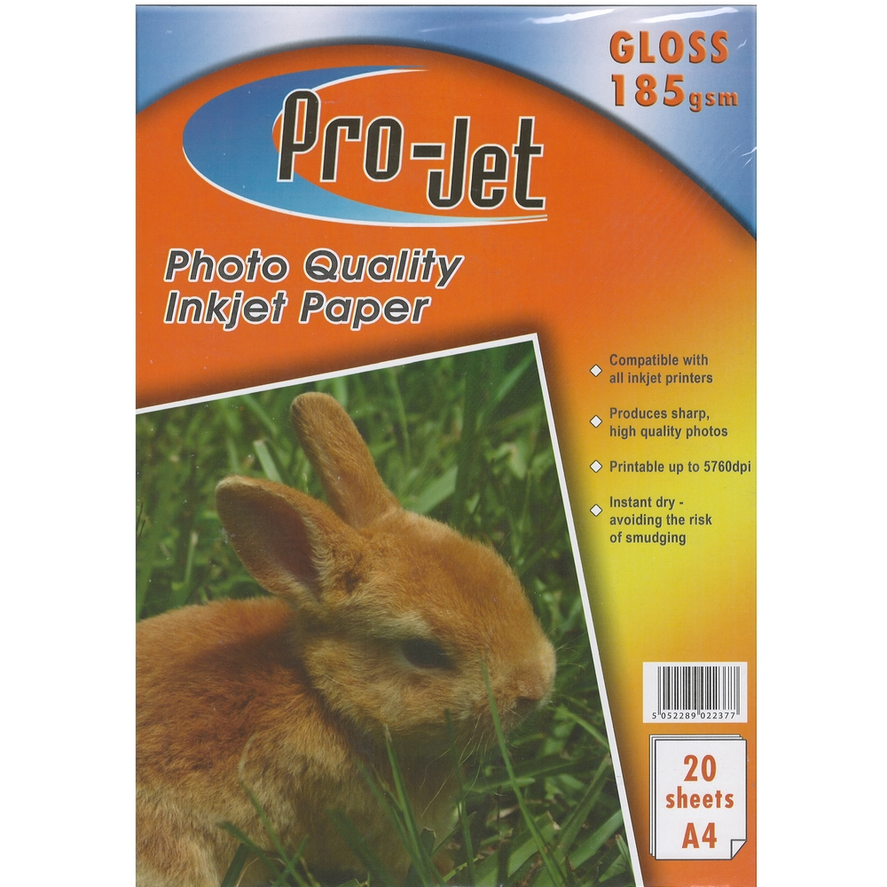Original Pro-Jet Glossy A4 185gsm Photo Paper - 20 sheets