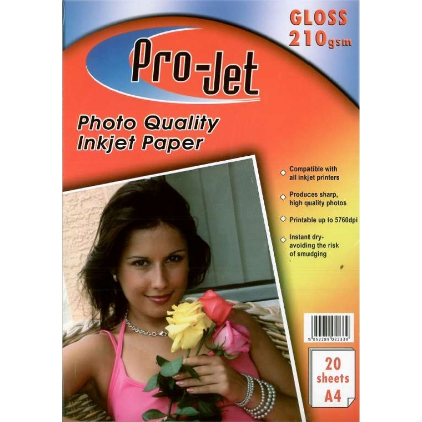 Original Pro-Jet Glossy A4 210gsm Photo Paper - 20 sheets