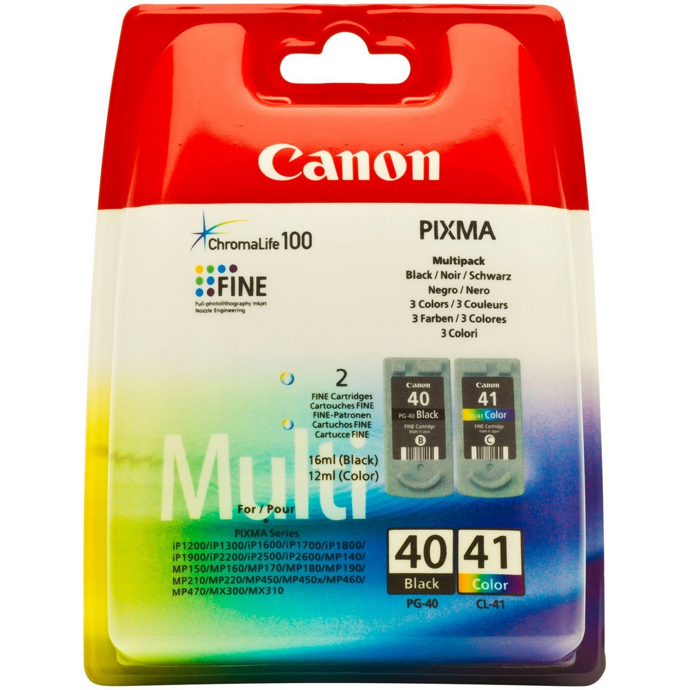 Original Canon PG-40 / CL-41 Black & Colour Combo Pack Ink Cartridges (0615B043)