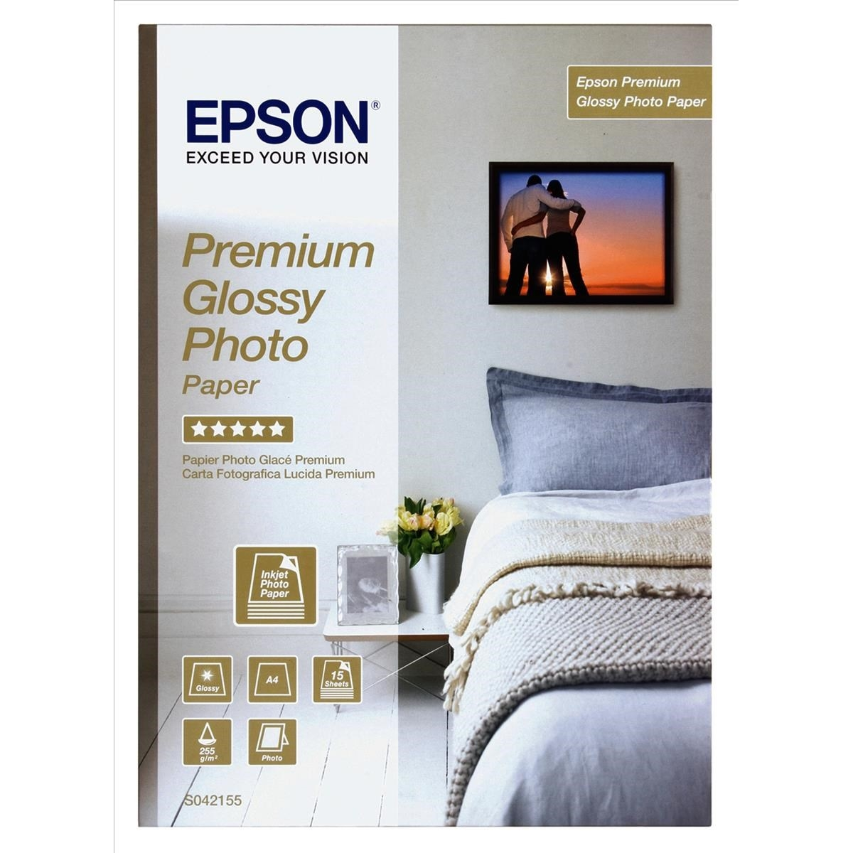 Original Epson S042155 255gsm A4 Photo Paper - 15 Sheets (C13S042155)