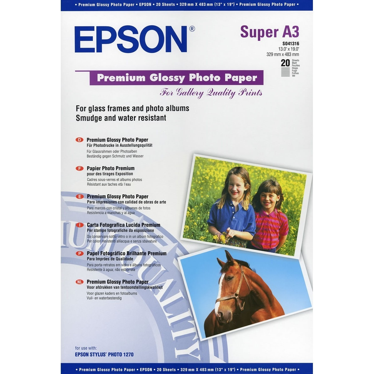 Original Epson S041316 255gsm A3+ Photo Paper - 20 Sheets (C13S041316)