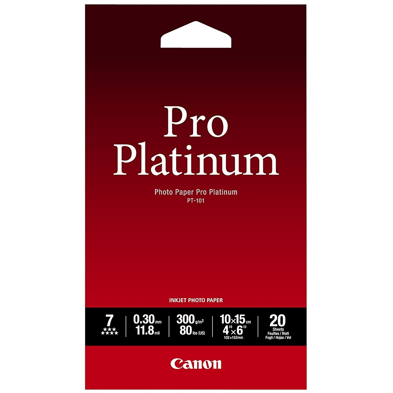 Original Canon PT-101 300gsm A6 Pro Platinum II Photo Paper - 20 Sheets (2768B013)