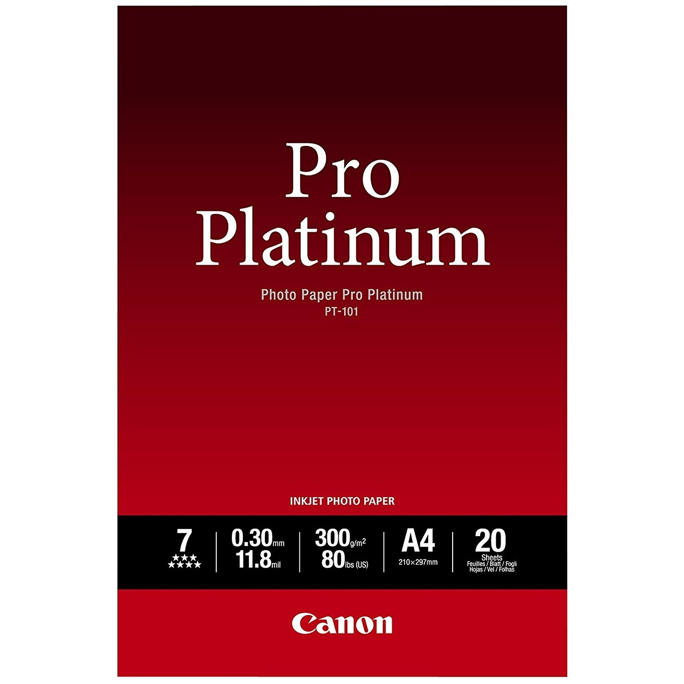Original Canon PT-101 300gsm A4 Pro Platinum II Photo Paper - 20 Sheets (2768B016)