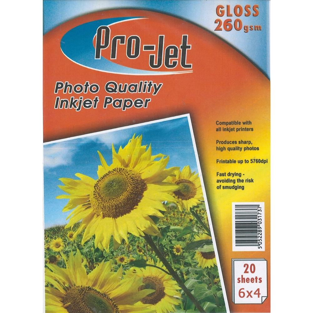 Original Pro-Jet Glossy A6 260gsm Photo Paper - 20 sheets