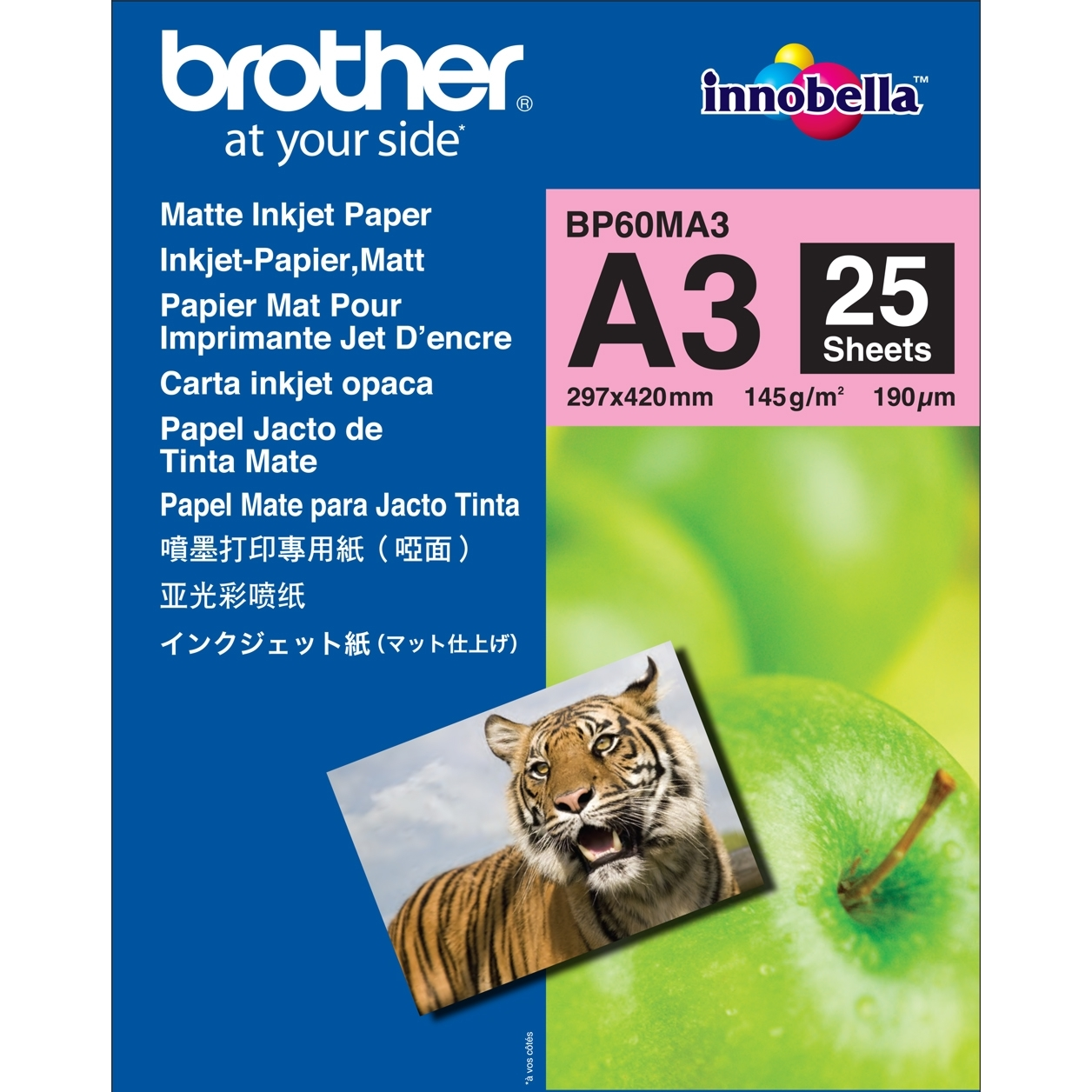 Original Brother BP60MA3 145 gsm A3 Photo Paper - 25 Sheets (BP60MA3)