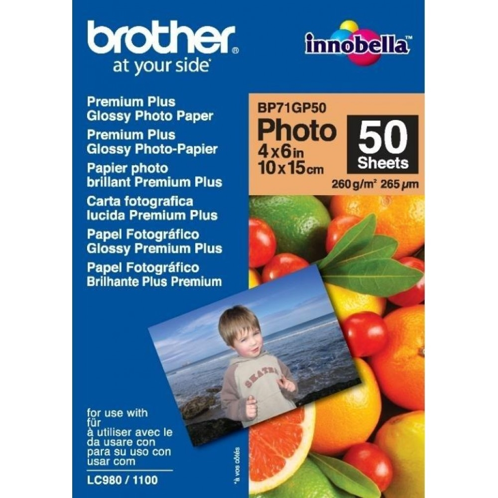 Original Brother BP71GP50 260gsm A6 Photo Paper - 50 Sheets (BP71GP50)
