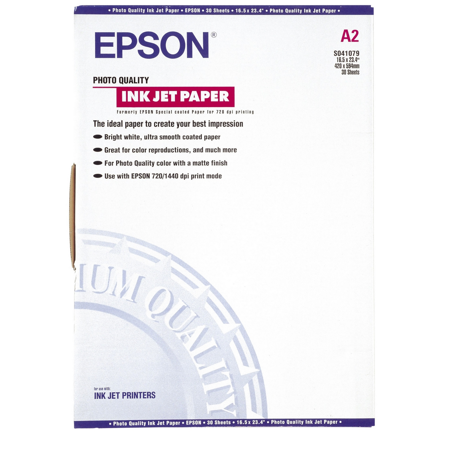 Original Epson S041079 105gsm A2 Inkjet Paper - 30 Sheets (C13S041079)