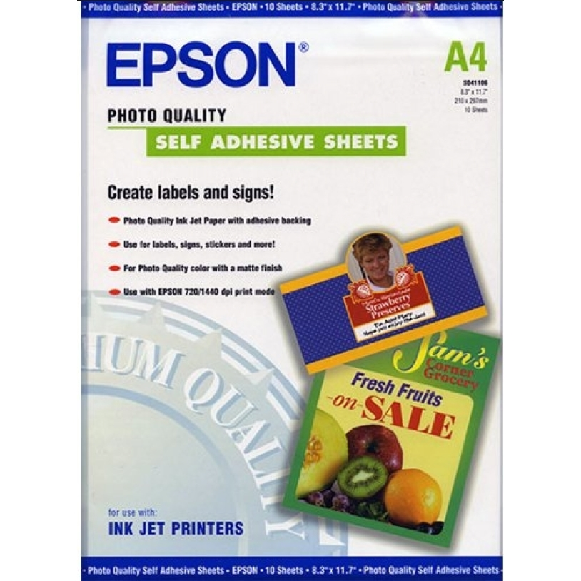 Original Epson S041106 167gsm A4 Self Adhesive Sheets - 10 Sheets (C13S041106)
