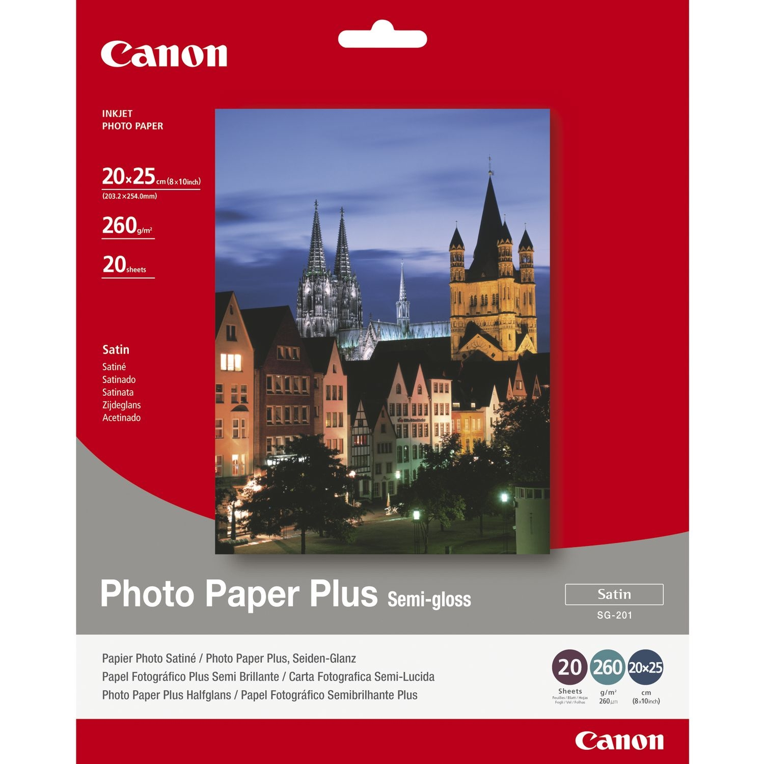 Original Canon SG-201 260gsm 8x10inch Semi-Gloss Photo Paper Plus - 20 sheets (1686B018)