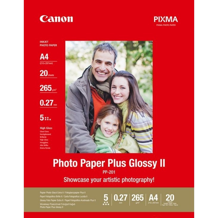 Original Canon PP-201 260gsm A4 Photo Paper Plus II - 20 Sheets (2311B019)