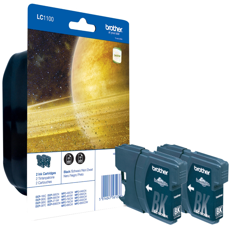 Original Brother LC1100BK Black Twin Pack Ink Cartridges (LC1100BKBP2)