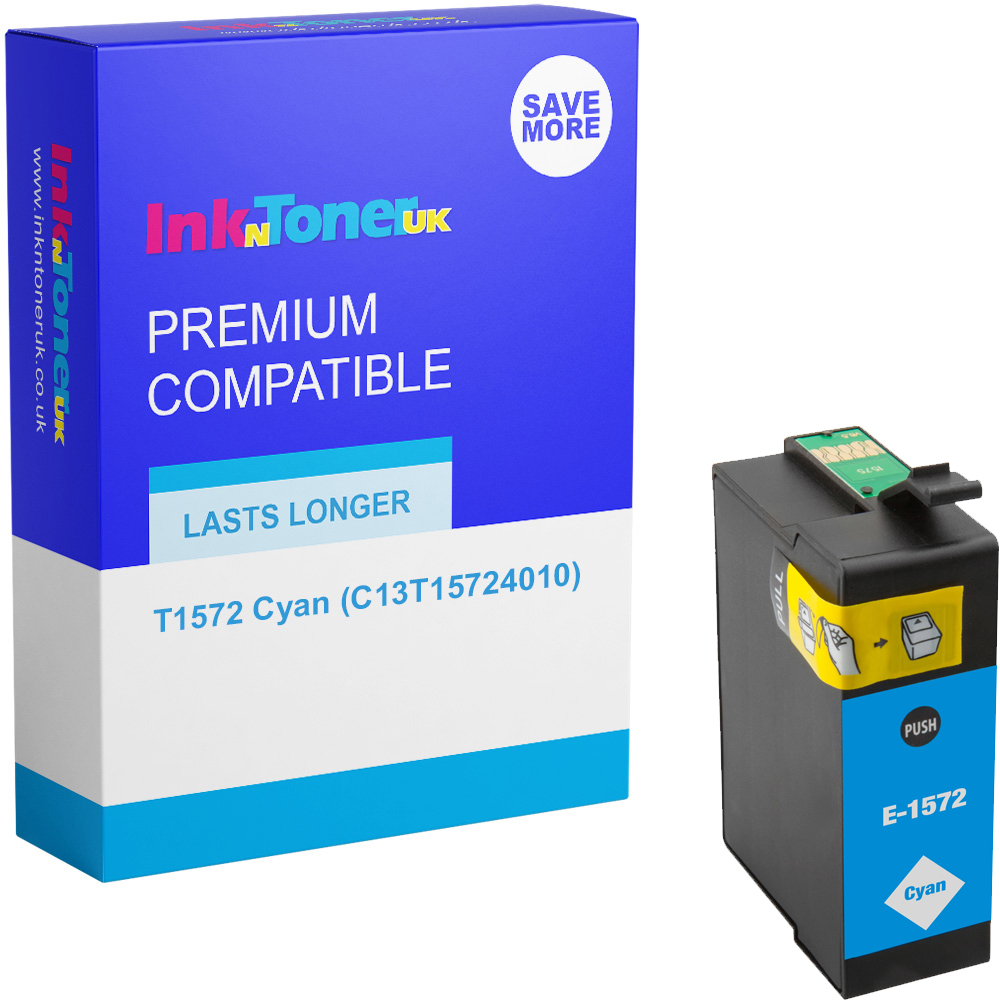 Premium Compatible Epson T1572 Cyan Ink Cartridge (C13T15724010)
