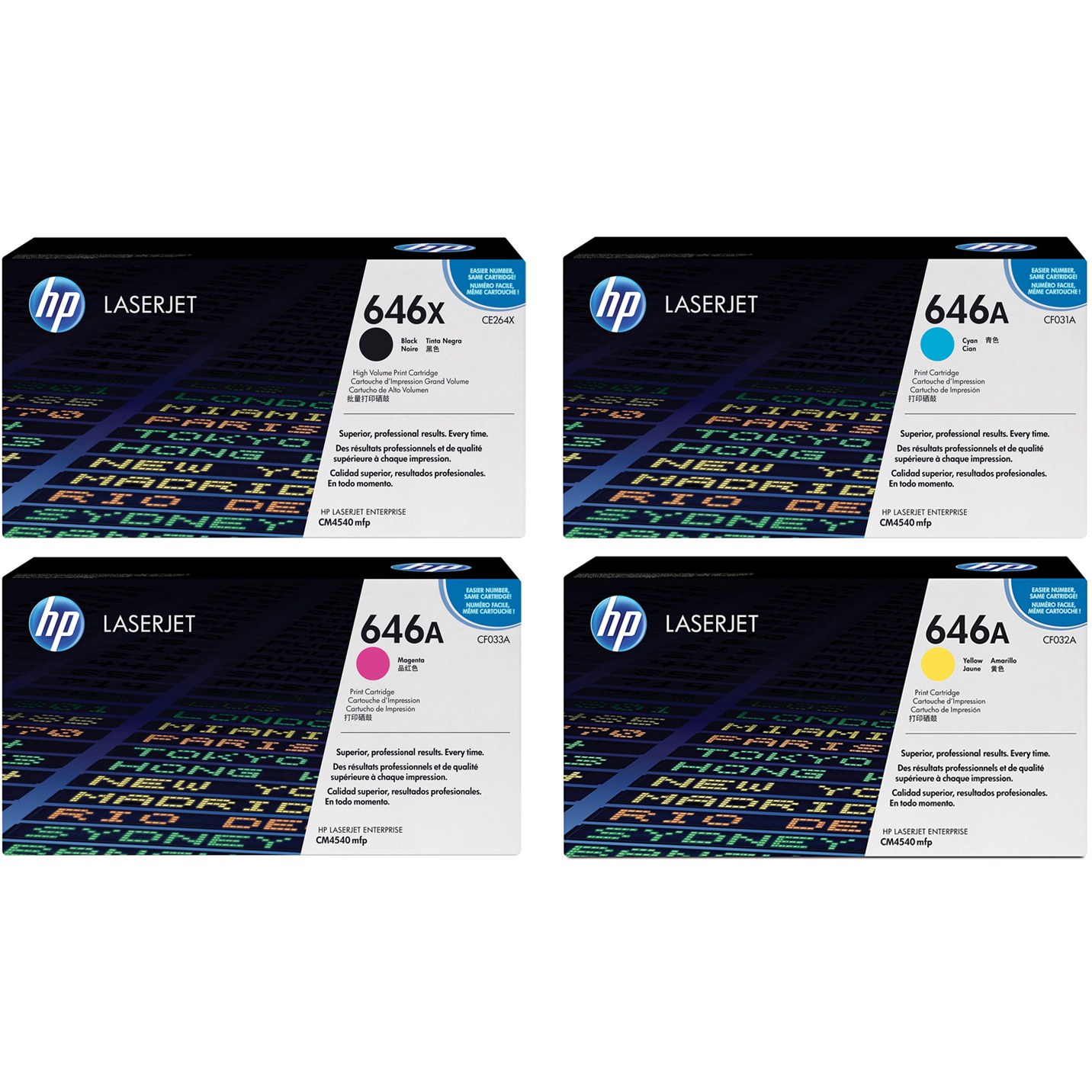 Original HP 646X / 646A CMYK Multipack High Capacity Toner Cartridges (CE264X/ CF031A/ CF033A/ CF032A)