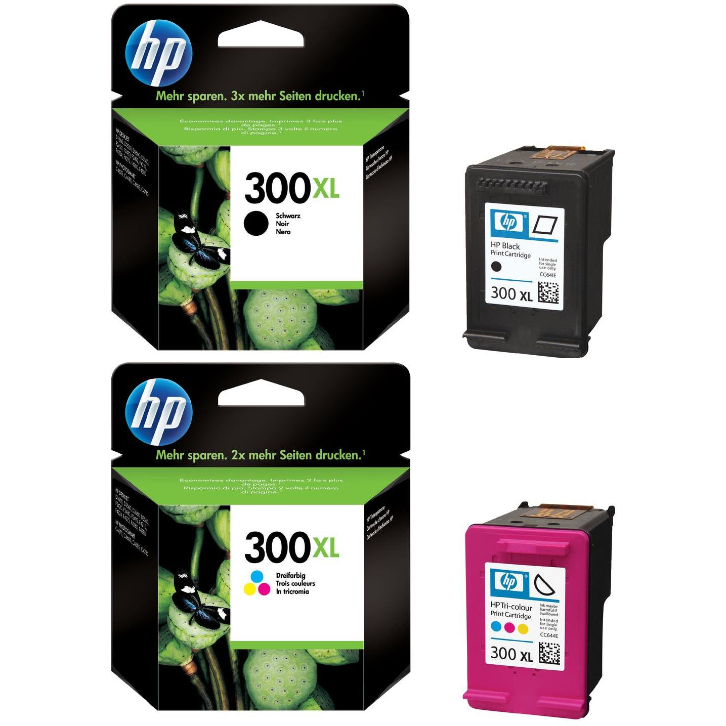 Original HP 300XL Black & Colour Combo Pack High Capacity Ink Cartridges (CC641EE & CC644EE)