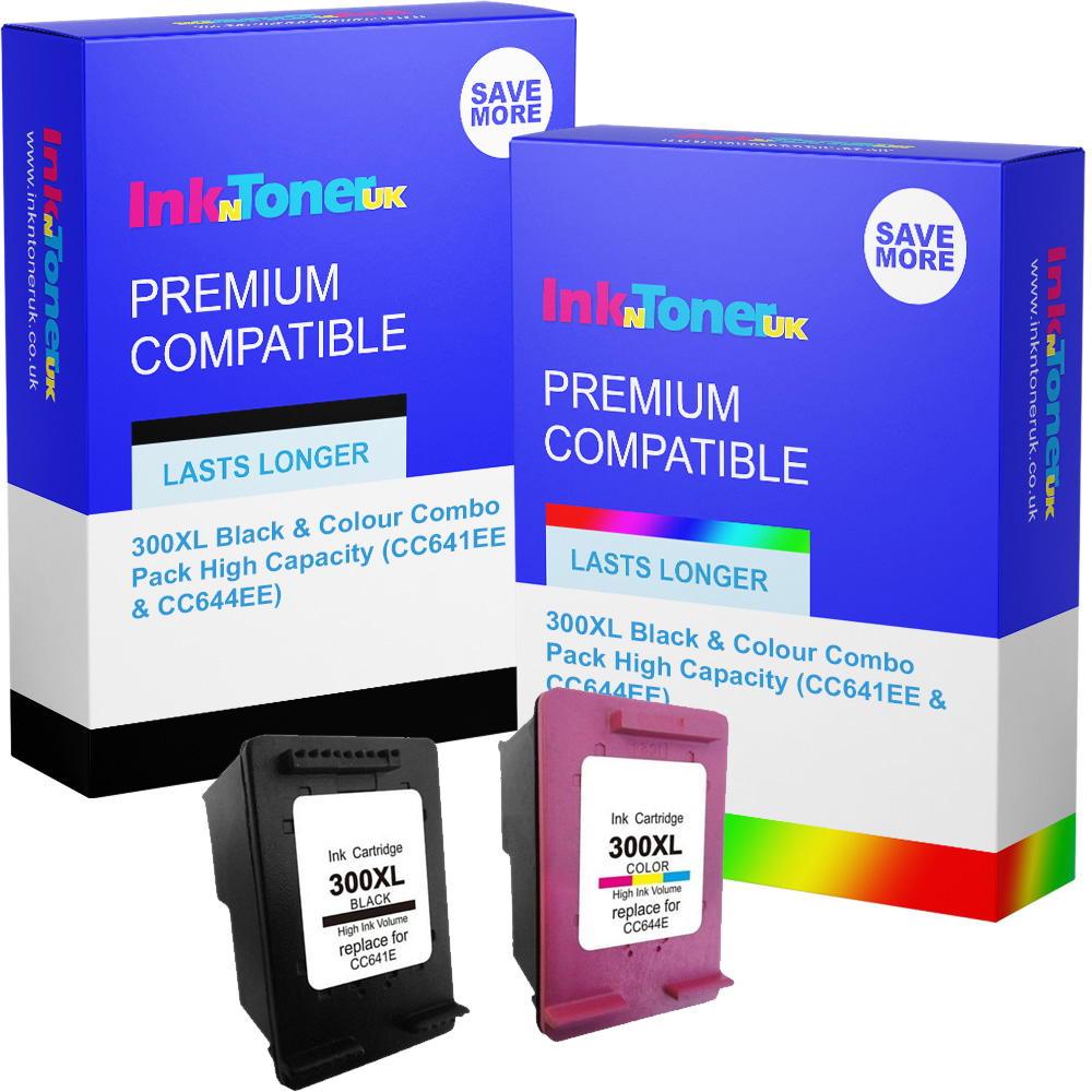 Premium Remanufactured HP 300XL Black & Colour Combo Pack High Capacity Ink Cartridges (CC641EE & CC644EE)