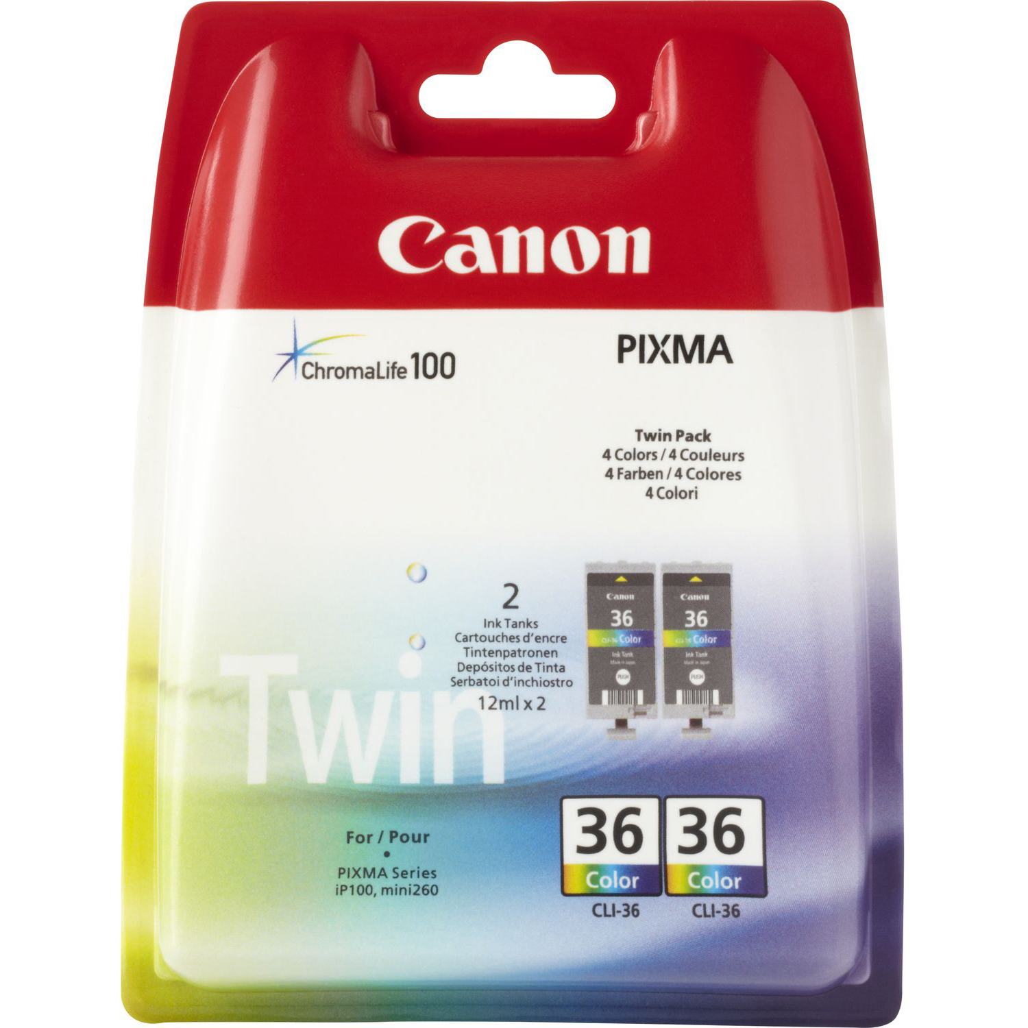 Original Canon CLI-36 Colour Twin Pack Ink Cartridges (1511B018)