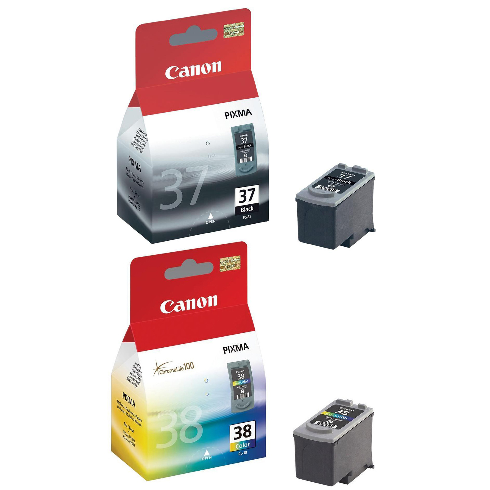 Original Canon PG-37 / CL-38 Black & Colour Combo Pack Ink Cartridges (2145B001 & 2146B001)