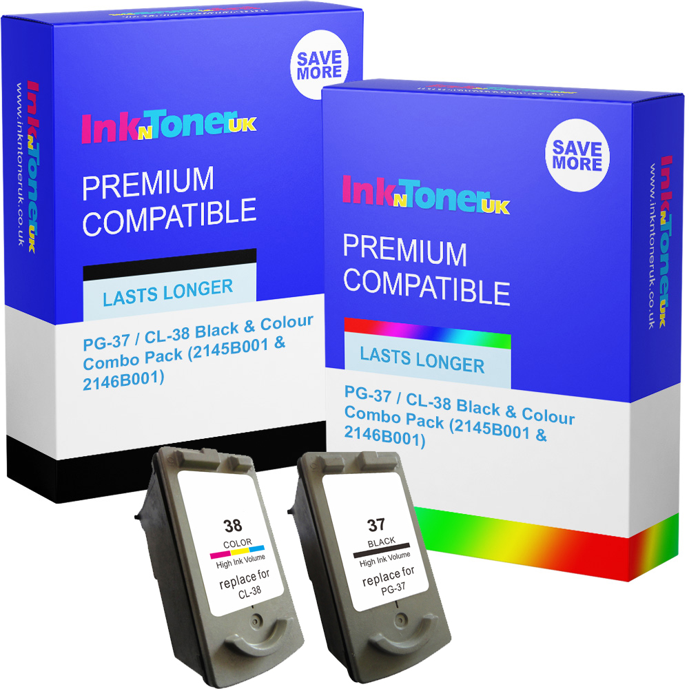 Premium Remanufactured Canon PG-37 / CL-38 Black & Colour Combo Pack Ink Cartridges (2145B001 & 2146B001)