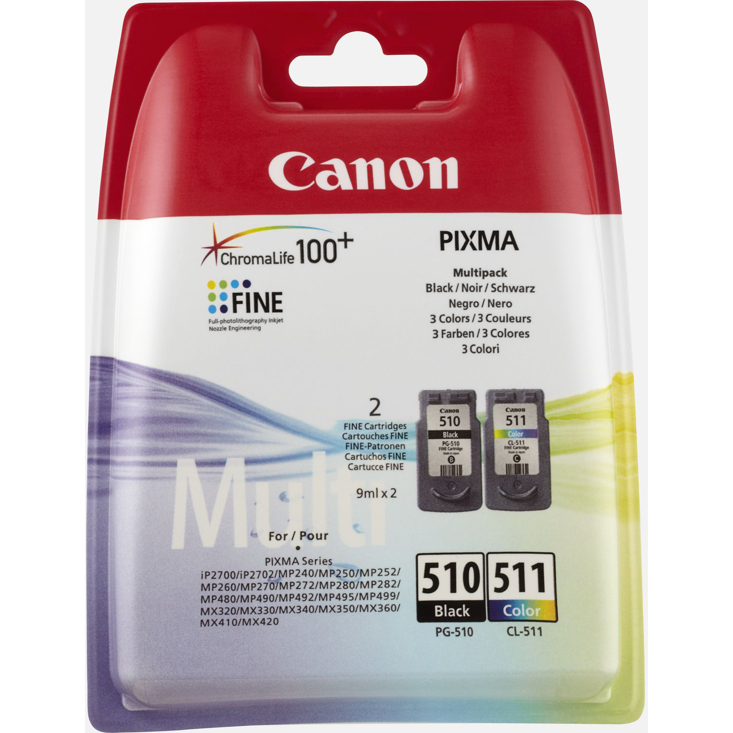 Original Canon PG-510 / CL-511 Black & Colour Combo Pack Ink Cartridges (2970B010)